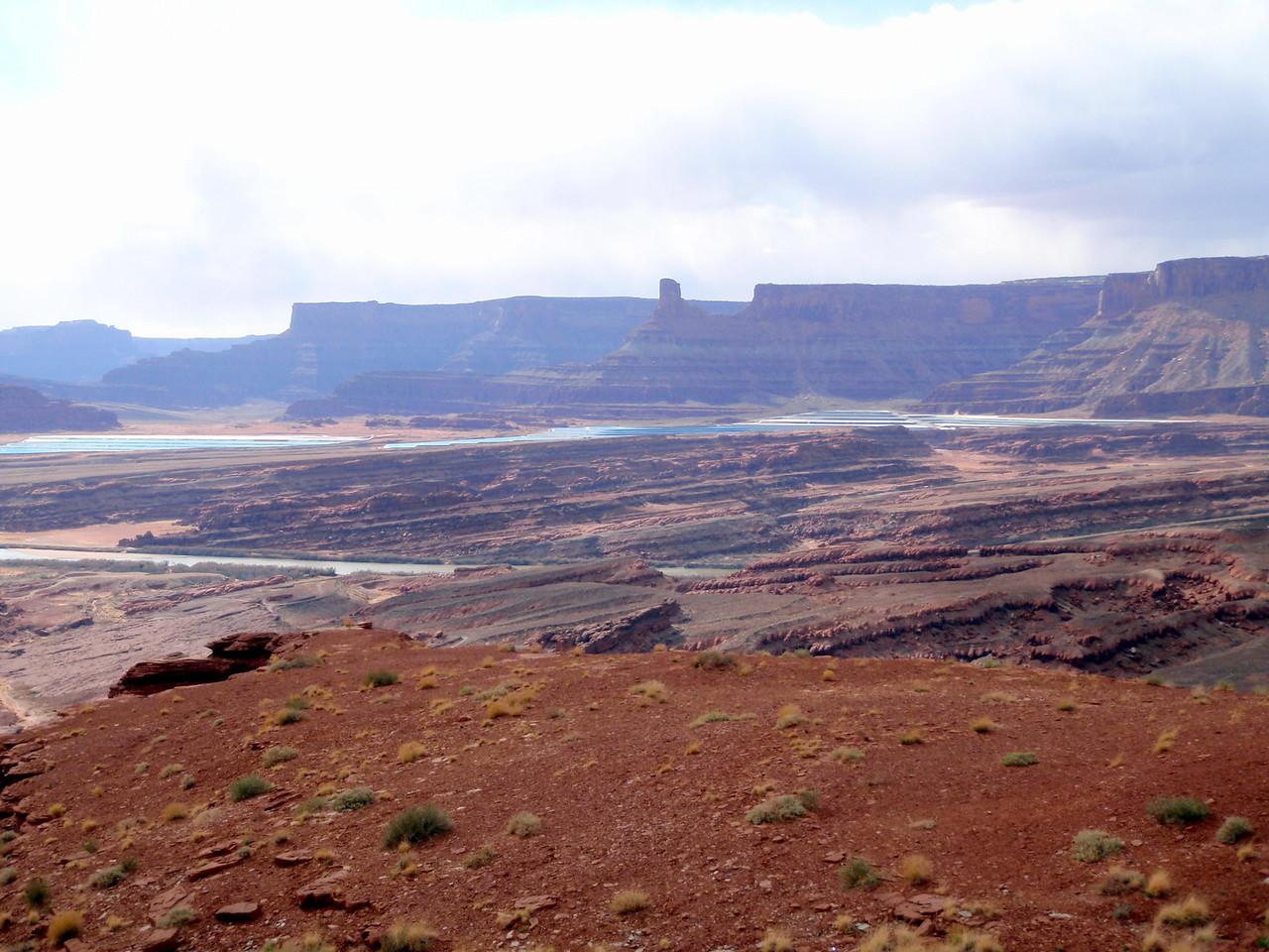 View of Potash Evaporation Ponds From Top of Hurrah Pass Near Moab, UT