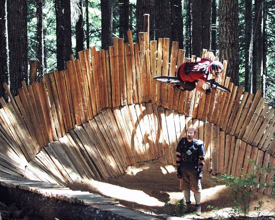 Wall Ride on Granny's Kitchen - trail manager Troy Munsell (standing) with Thom Weeks (riding)