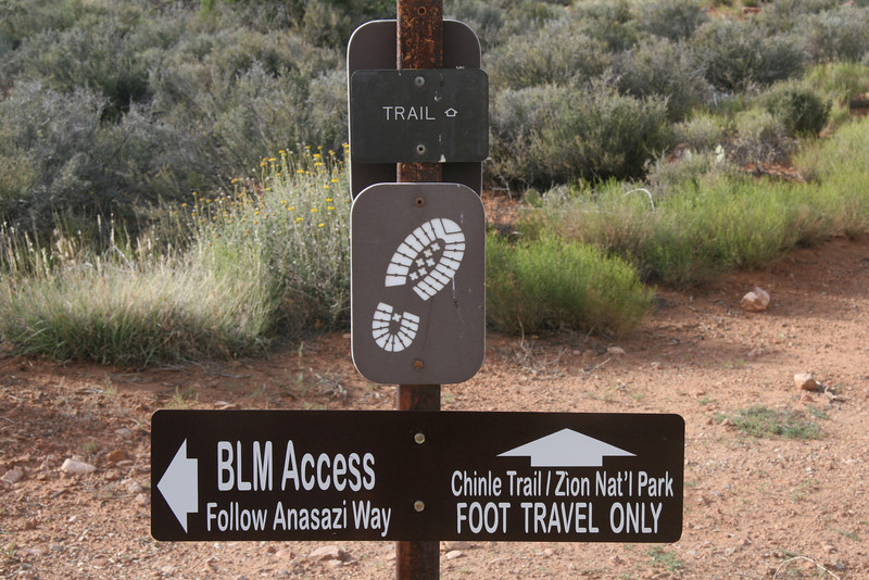 Another inviting sign.  It seems part of the original slick rock swamp trail has been commandeered by someone imposing foot travel only restrictions.  BLM land belongs to the public or at least it did.  Zion's decry here is controversial and some believe it to be based on false information.