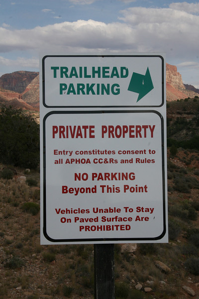 An interesting and cryptic sign located at the entrance to Anasazi Way just beyond trail head parking.  A parking lot does exist beyond this point.  APHOA is their home owner's assoc whose mission is unclear.  Obviously conflicts exist between Zion, APHOA and BLM.  The public and those wishing to recreate will have their outdoor experience tightly regulated and contained.