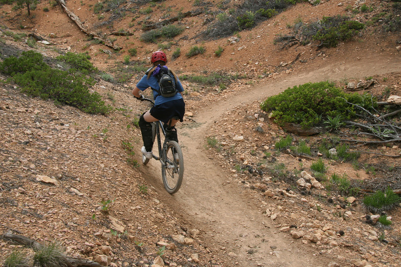 A banked sweep around at the apex of a crevice.  If visibility toward the up coming trail is good you can go fast around these.  Most have an initial bank as shown here with a second bank taking you completely out of the turn into a climb.
