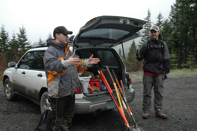 """Ryan and Dave explaining trail construction guidelines (not telling a fishing story about the """"one that got away"""")"""