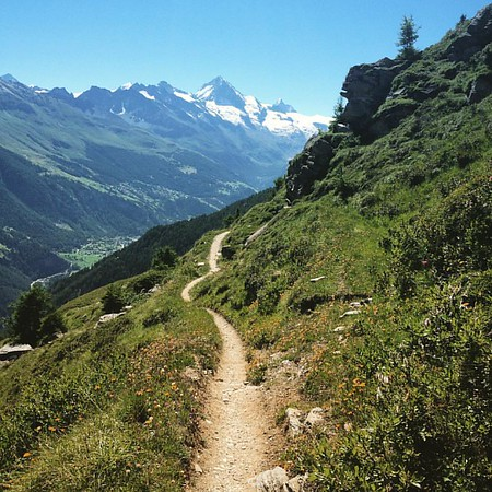 En route on the Grand Raid - descending the Pointe de Mandolin trail to Evolène...this trail goes on and on and on before going up another 2000m to the Pas de Lona. A proper bag of balls in some ways! But what a trail!
