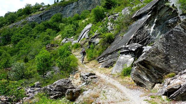 Julie descending the final part of Rinderhütte trail