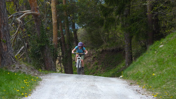 """Julie attacking the """"final"""" hairpin..."""