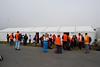Volunteers assembling on Saturday Morning