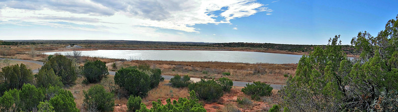 A view of Copper Breaks Lake from the trail. The paved road provides access to the lake and trail heads.