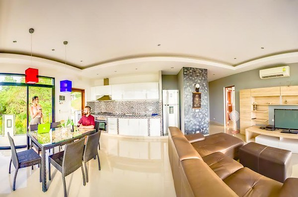 The Mountain House Villa Upper Level Open plan lounge, dining and kitchen area