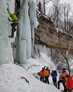 Ice Climbers on the pillars at The Rim, Pictured Rocks National Seashore, Lake Superior, Michigan