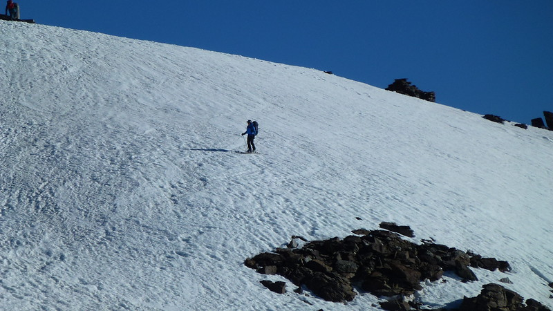 Skiing off the highest mountain in southern Spain in June!