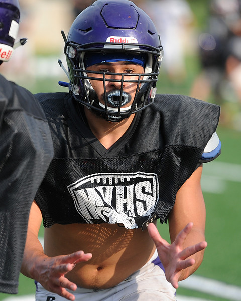 Mountain View's Mario Portillo goes through a drill before a scrimmage Thursday, Aug. 16, 2018 at Loveland Sports Park. (Sean Star/Loveland Reporter-Herald)