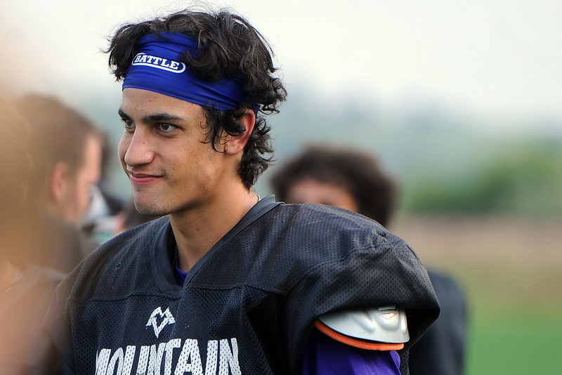 Mountain View's Josiah Baptista waits on the sideline during a scrimmage Thursday, Aug. 16, 2018 at Loveland Sports Park. (Sean Star/Loveland Reporter-Herald)