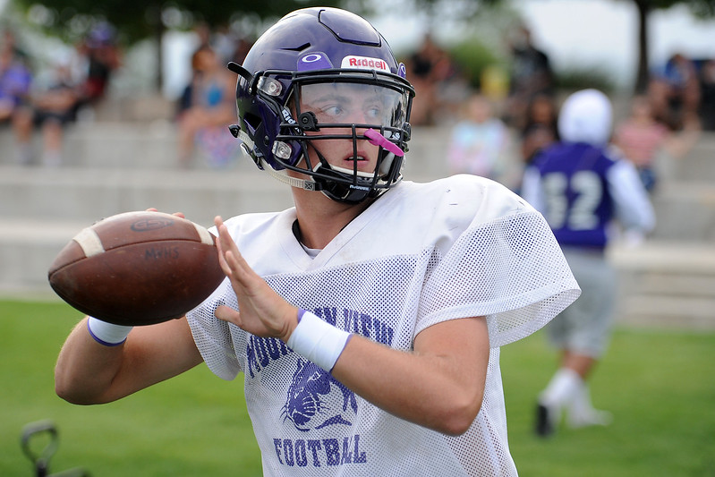 Mountain View's Lukas Arthur warms up during a scrimmage against Mead on Thursday, Aug. 16, 2018 at Loveland Sports Park. (Sean Star/Loveland Reporter-Herald)