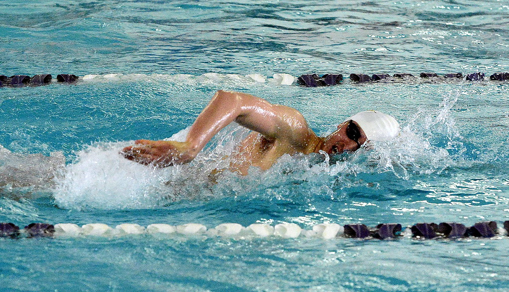 . Thompson Valley\'s Liam Gately works his way to win the 200-yard freestyle during the Mountain View Invitational Saturday, April 29, 2017.
