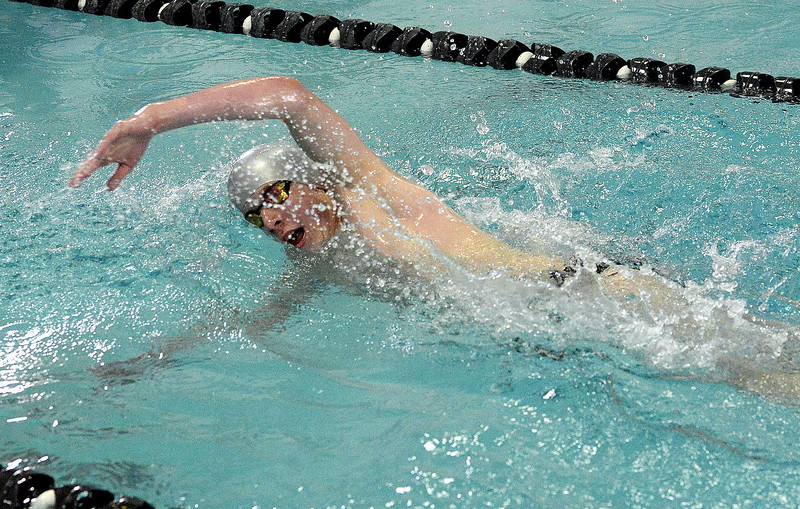 Loveland's Jakob Borrman approaches the wall during the 500 freestyle finals on Saturday. The Indians' freshman placed eighth.