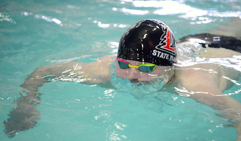 Loveland's Jakob Borrman placed sixth in the 100-yard breaststroke at Saturday's Mountain View Invitational at the Mountain View Aquatic Center. (Mike Brohard/Loveland Reporter-Herald)