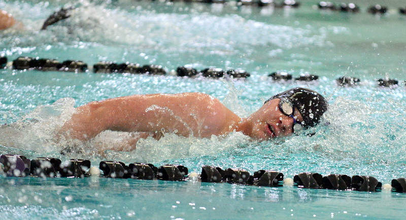 Mountain View's Jonathan Zakanycz swims to a 10th-place finish in the 200-yard freestyle at Saturday's Mountain View Invitational at the Mountain View Aquatic Center. (Mike Brohard/Loveland Reporter-Herald)