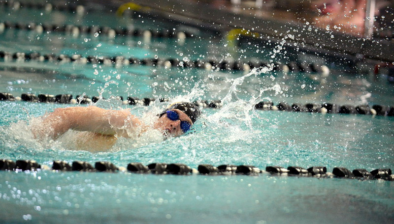 Thompson Valley's Jake Axelson won the consolation heat of the 200-yard freestyle at Saturday's Mountain View Invitational at the Mountain View Aquatic Center. (Mike Brohard/Loveland Reporter-Herald)