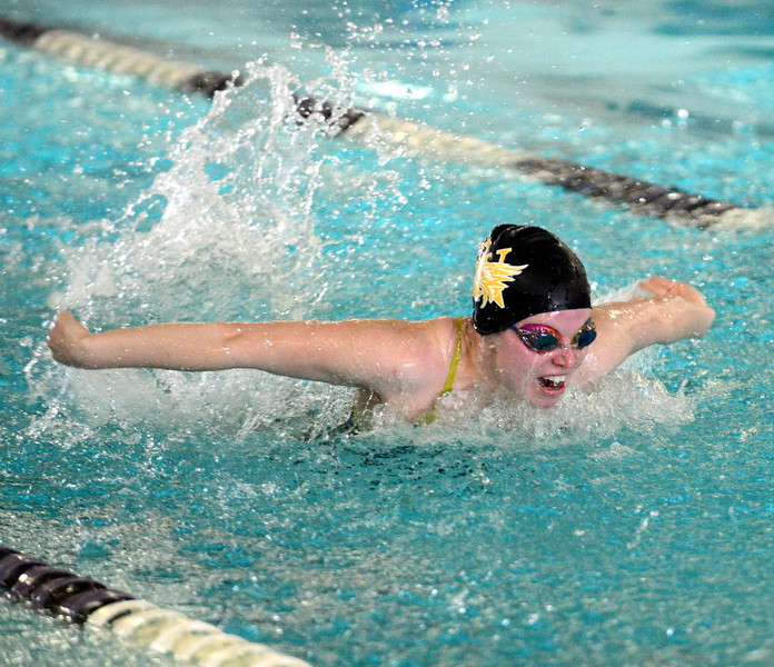 Thompson Valley's Emma McKalko swims to a third-place finish in the 200-yard individual medley at Saturday's Mountain View Invitational at the Mountain View Aquatic Center. (Mike Brohard/Loveland Reporter-Herald)