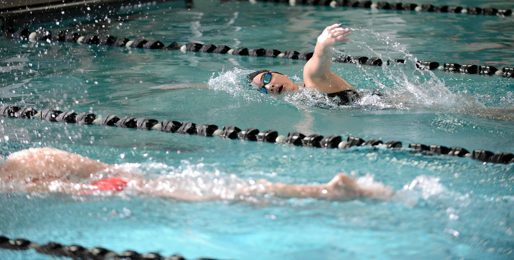 . Berthoud\'s Jamie Dellwardt swims to a second-place finish in the 500-yard freestyle at Saturday\'s Mountain View Invitational at the Mountain View Aquatic Center. (Mike Brohard/Loveland Reporter-Herald)
