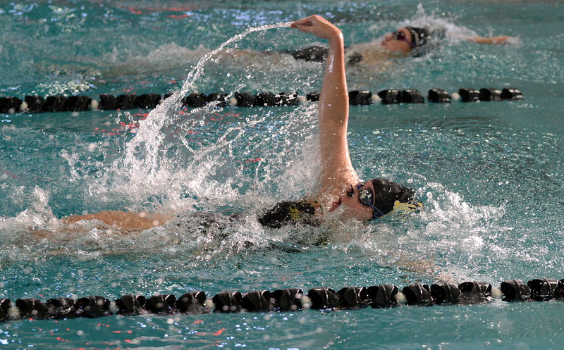 Ashton Hornick leads off Thompson Valley's 200-yard medley relay at Saturday's Mountain View Invitational at the Mountain View Aquatic Center. (Mike Brohard/Loveland Reporter-Herald)