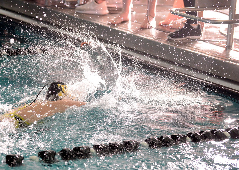 Alyssa Howard puts the finishing touches on Thompson Valley's 200-yard medley relay at Saturday's Mountain View Invitational at the Mountain View Aquatic Center. (Mike Brohard/Loveland Reporter-Herald)
