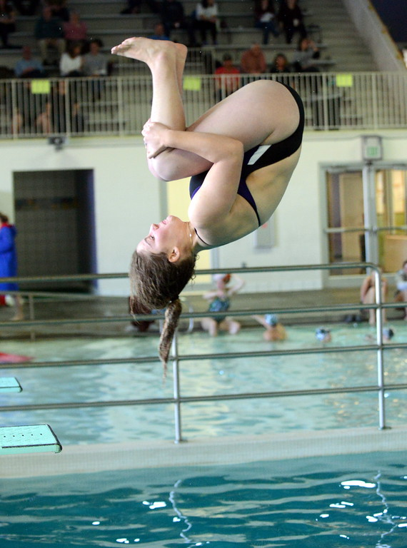 . Mountain View diver Taylor Lenhart placed fourth at Saturday\'s Mountain View Invitational at the Mountain View Aquatic Center. (Mike Brohard/Loveland Reporter-Herald)