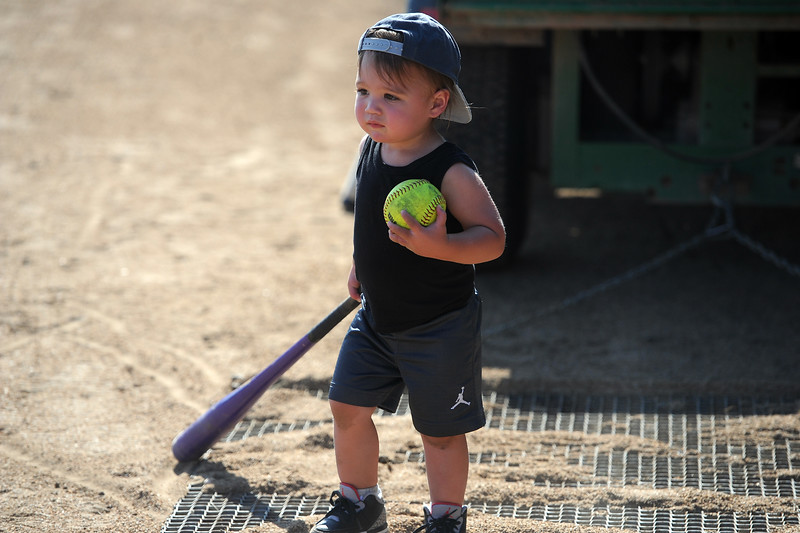 Carter Kingman is ready to take the field during a Mountain View softball practice Friday, August 10, 2018 at Mountain View High School in Loveland, Colorado. (Sean Star/Loveland Reporter-Herald)