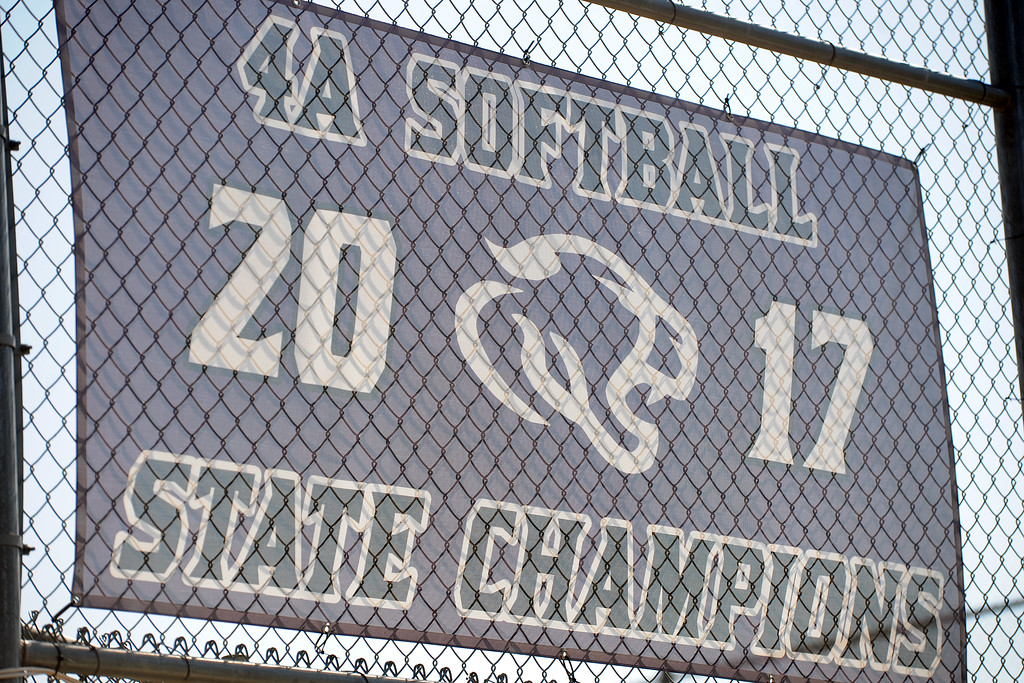 . Mountain View softball\'s 2017 4A state championship banner hangs during a practice Friday, August 10, 2018 at Mountain View High School in Loveland, Colorado. (Sean Star/Loveland Reporter-Herald)