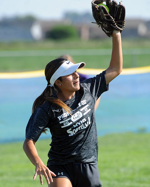Mountain View senior Jaelyn Taylor makes a catch during a practice Friday, August 10, 2018 at Mountain View High School in Loveland, Colorado. (Sean Star/Loveland Reporter-Herald)
