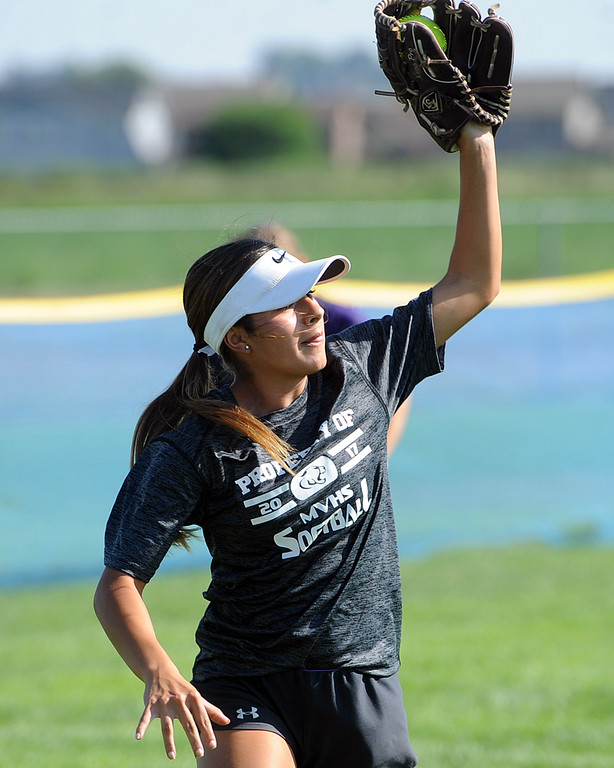 . Mountain View senior Jaelyn Taylor makes a catch during a practice Friday, August 10, 2018 at Mountain View High School in Loveland, Colorado. (Sean Star/Loveland Reporter-Herald)