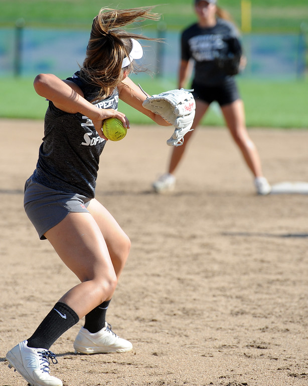 . Mountain View junior Nya Chacon throws to first during a practice Friday, August 10, 2018 at Mountain View High School in Loveland, Colorado. (Sean Star/Loveland Reporter-Herald)