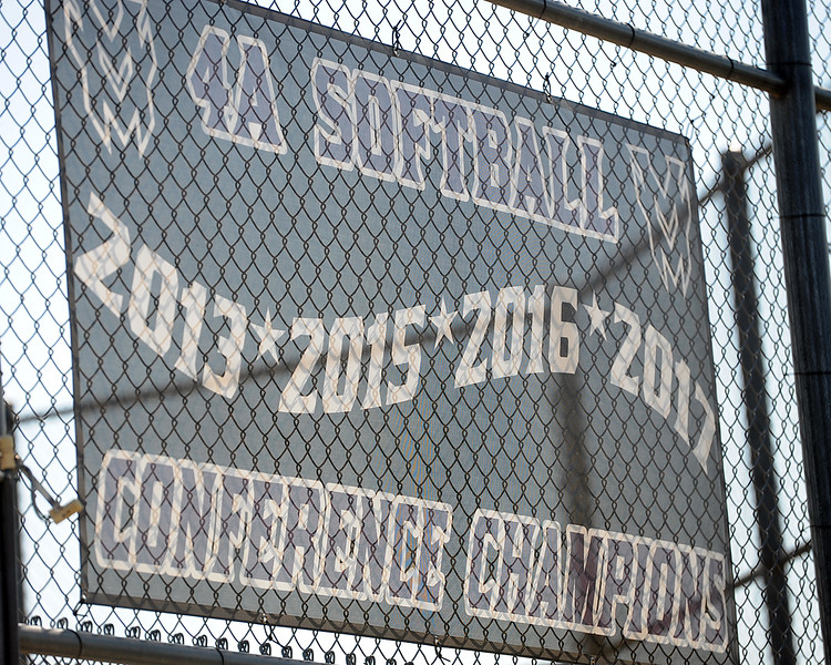 Mountain View softball's conference championship banner hangs during a practice Friday, August 10, 2018 at Mountain View High School in Loveland, Colorado. (Sean Star/Loveland Reporter-Herald)