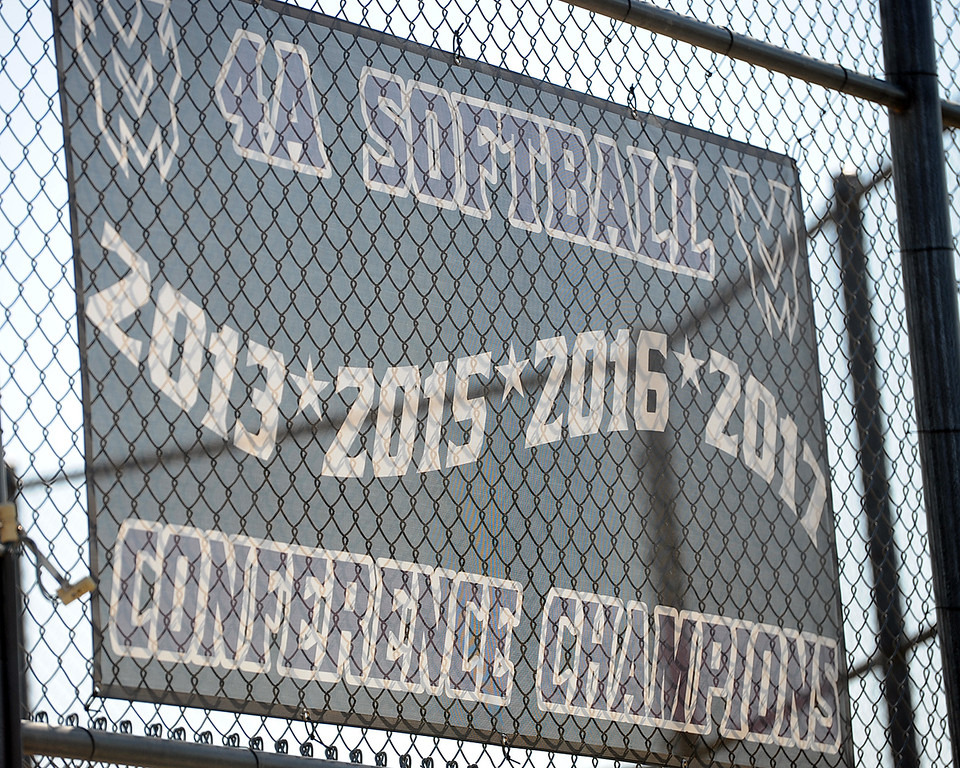 . Mountain View softball\'s conference championship banner hangs during a practice Friday, August 10, 2018 at Mountain View High School in Loveland, Colorado. (Sean Star/Loveland Reporter-Herald)