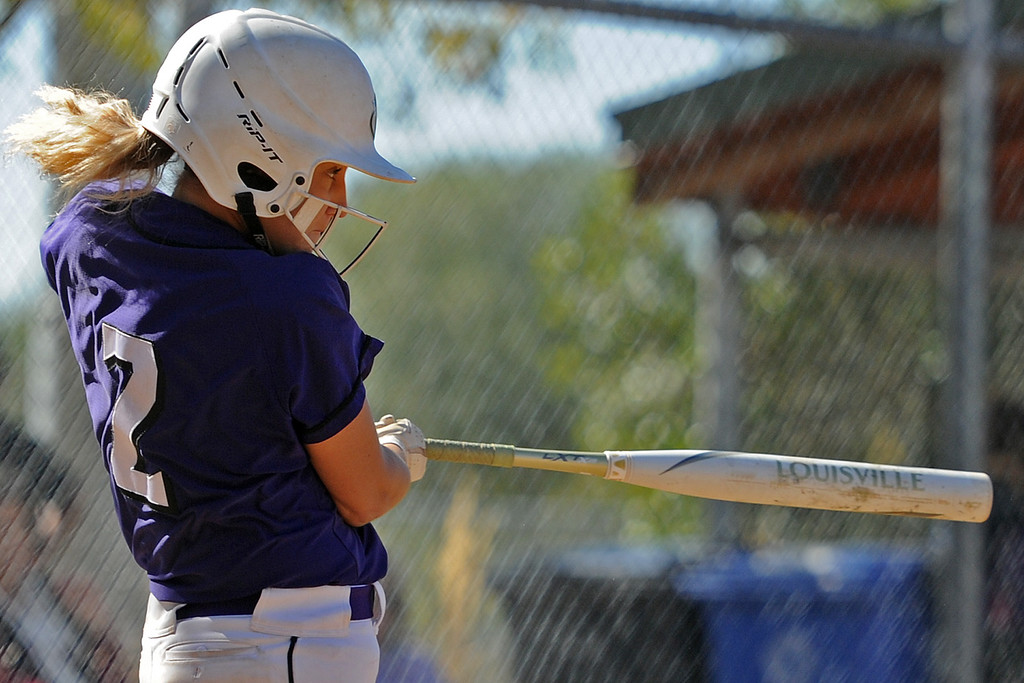 . Mountain View\'s Kamryn Leoffler connects on a home run during the 4A Region 6 tournament on Saturday, Oct. 13, 2018 at Barnes Complex in Loveland. (Sean Star/Loveland Reporter-Herald)