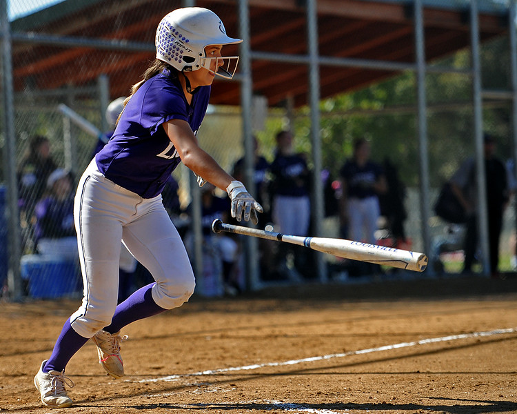 Mountain View's Jaelyn Taylor takes off for first during the 4A Region 6 tournament on Saturday, Oct. 13, 2018 at Barnes Complex in Loveland. (Sean Star/Loveland Reporter-Herald)