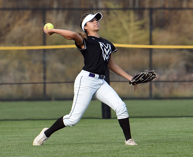 Mountain View's (3) Jaelyn Taylor throws the ball from outfield during their game against Discovery Canyon Friday, Oct. 20, 2017, during State Softball at the Aurora Sports Park in Aurora. (Photo by Jenny Sparks/Loveland Reporter-Herald)