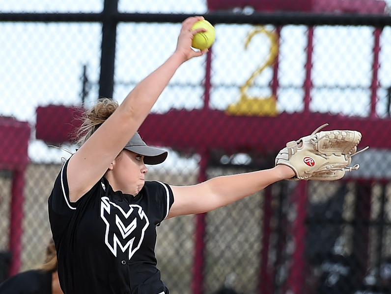 Mountain View's (10) Bailey Carlson pitches during their game against Discovery Canyon Friday, Oct. 20, 2017, during State Softball at the Aurora Sports Park in Aurora. (Photo by Jenny Sparks/Loveland Reporter-Herald)