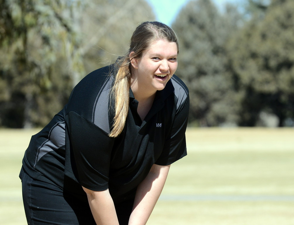 . Thompson Valley\'s Heidi Jensen reacts to just missing a putt during Tuesday\'s round at the Mountain View league meet played at the Olde Course. (Mike Brohard/Loveland Reporter-Herald)