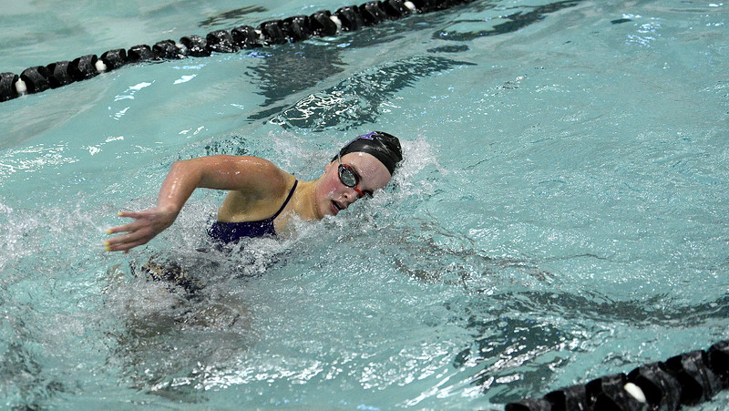 Mountain View's Abby O'Donnell makes the turn during the breastroke leg of the 200-yard individual medley in Tuesday's dual with Silver Creek at the MVHS pool. O'Donnell took second in the event.