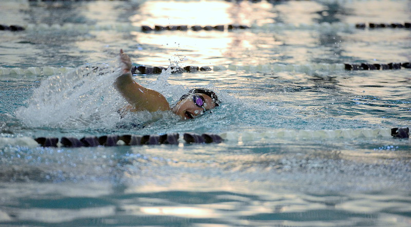 Sophie Busse of Mountain View finishes out the 200-yard individual medley during Tuesday dual meet with Silver Creek at the MVHS pool. Busse won the event in a time of 2:26.75.