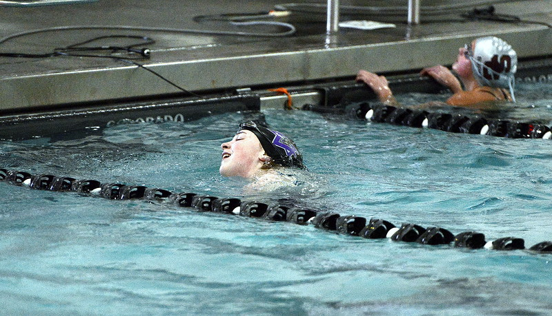 The face of Mountain View's Grace Peterson tells the story as she won the 50-yard freestyle during Tuesday's dual meet with Silver Creek, just missing the state cut in the event with her time of 27.00.