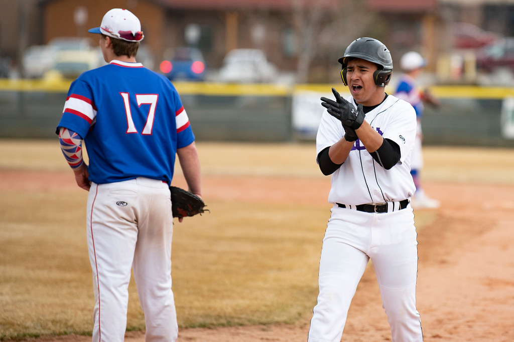 . Mountain View\'s Jacob Sanchez celebrates after taking first place during a game against Centaurus at Greg Brock Field on Friday, March 22, 2019. The Lions defeated Centaurus 4-3.