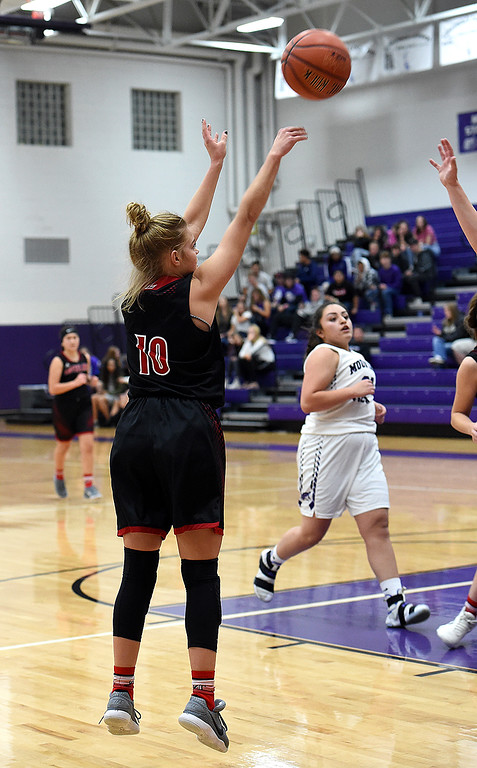 . Loveland\'s Lexi Eberhardt shoots a three-pointer during their game against Mountain View on Wednesday, Nov. 28, 2018, at Mountain View High in Loveland. (Photo by Jenny Sparks/Loveland Reporter-Herald)
