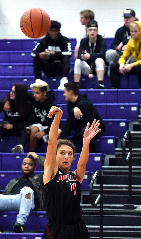. Loveland\'s Kennedy Burch shoots a three-pointer during their game against Mountain View on Wednesday, Nov. 28, 2018, at Mountain View High in Loveland. (Photo by Jenny Sparks/Loveland Reporter-Herald)
