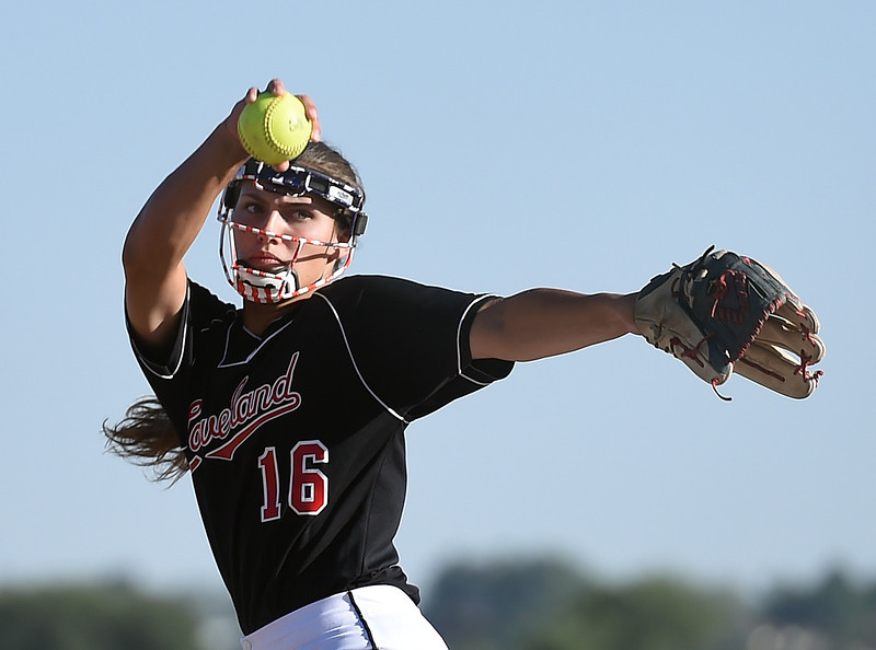 Mountain View's (16) Laurin Krings pitches Wednesday, Sept. 20, 2017, during their game against Mountain View at Mountain View in Loveland. (Photo by Jenny Sparks/Loveland Reporter-Herald)