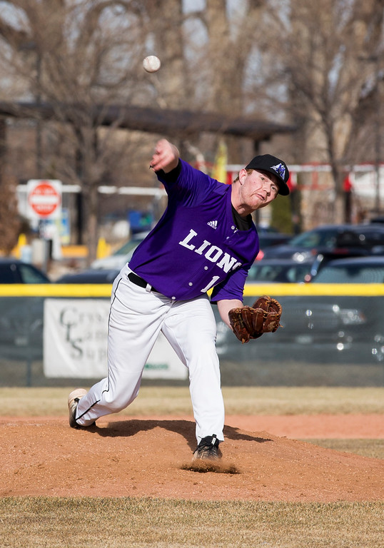 . Mountain View\'s Braden Barker (14) pitches against Loveland Thursday afternoon Mar., 8, 2018 at Greg Brock Field in Loveland. The Mountain Lions won, beating the Indians 11-2. (Michael Brian/For the Reporter-Herald)