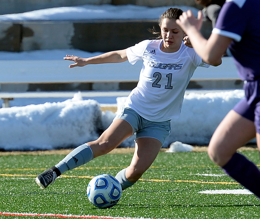 . Resurrection Christian\'s Ellie Potkonjak moves the ball down field during their game against Mountain View on Friday, March 15, 2019, at the Loveland Sports Park.  (Photo by Jenny Sparks/Loveland Reporter-Herald)