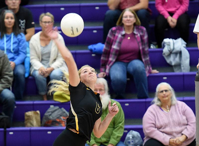 Thompson Valley's (6) Danielle Sobraske spikes the ball Tuesday, Oct. 10, 2017,  during their game against Mountain View at Mountain View High School in Loveland. (Photo by Jenny Sparks/Loveland Reporter-Herald)