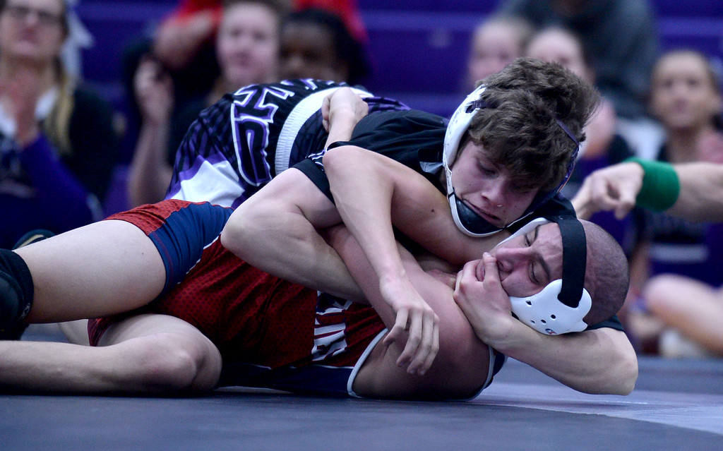 . Mountain View\'s  Dominic Piccone, top, wrestles against Northridge\'s Carey Williams, during a meet at Mountain View High School Thursday Jan. 10, 2019.